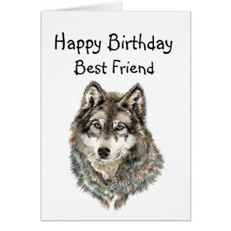 Happy Birthday, Best Friend  Humor Wolf, Wolves Card