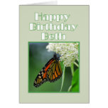 Happy Birthday Beth Monarch Butterfly Greeting Cards