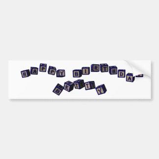 Happy Birthday Betty toy blocks in blue. Bumper Sticker