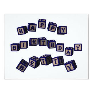 Happy Birthday Betty toy blocks in blue. Card