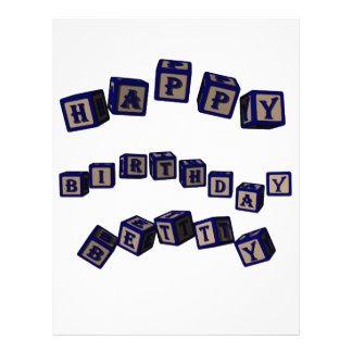 Happy Birthday Betty toy blocks in blue. Personalized Letterhead
