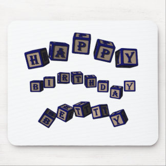 Happy Birthday Betty toy blocks in blue. Mouse Pads