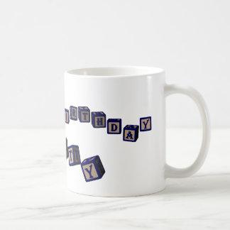 Happy Birthday Betty toy blocks in blue. Classic White Coffee Mug