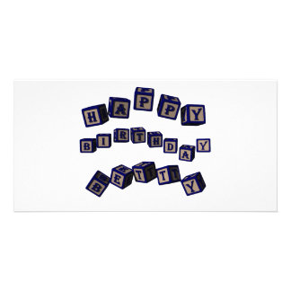 Happy Birthday Betty toy blocks in blue. Personalized Photo Card