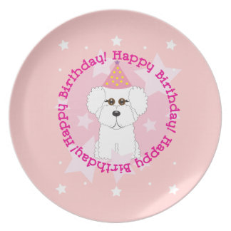 Happy Birthday Bichon Frise Plate