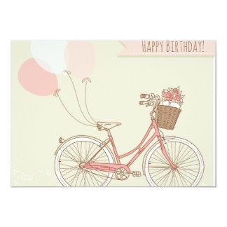 "Happy Birthday Bicycle Girl 5"" X 7"" Invitation Card"