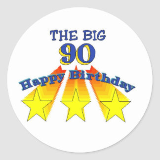 Happy Birthday Big 90 Round Stickers