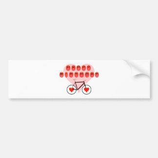 Happy Birthday Bike and Hearts Bumper Sticker