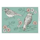 Happy Birthday Bird Wildlife Nature Ink Pen Art Greeting Card