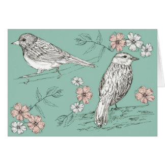Happy Birthday Bird Wildlife Nature Ink Pen Art Card