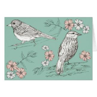 Happy Birthday Bird Wildlife Nature Ink Pen Art Card