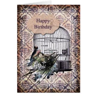 Happy Birthday - Birds and Birdcage Card