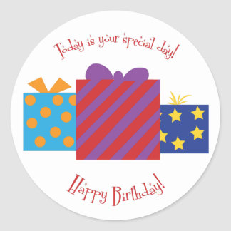 """Happy Birthday"" Birthday round sticker"
