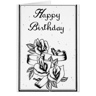 Happy Birthday Black and White Card