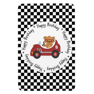 Happy Birthday Black and White Racing Bear Magnet