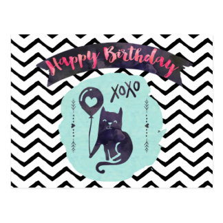 Happy Birthday Black Cat Kid Kitty Cute Kawaii Postcard