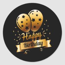 Happy Birthday - Black & Gold 1 S Classic Round Sticker