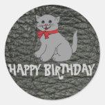 Happy Birthday Black Leather Effect Classic Round Sticker