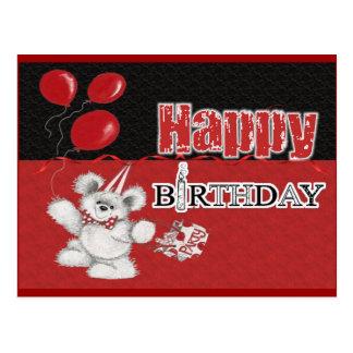 happy birthday black n red card postcards