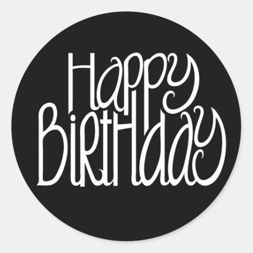 Happy Birthday Black Sticker