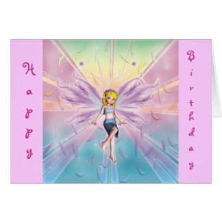 Happy birthday blonde fairy for little girls card