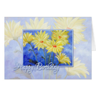 Happy Birthday Blue and Yellow Flowers Card