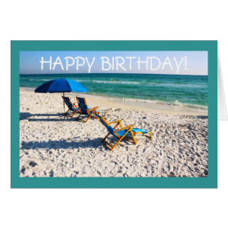 Happy Birthday! - Blue beach chairs florida scene Cards