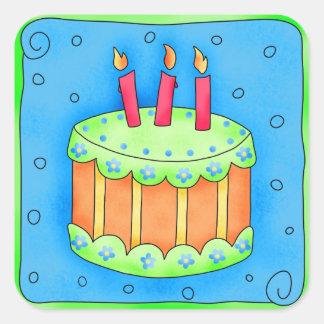 Happy Birthday Blue Cake Sticker Third