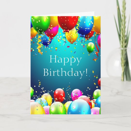 happy birthday blue colored balloons customize card zazzle com