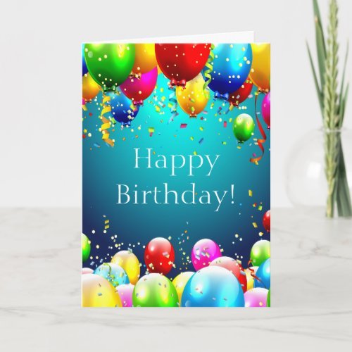 Happy Birthday _ Blue Colored Balloons _ Customize Card