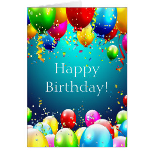 Happy Birthday - Blue Colored Balloons - Customize Card at Zazzle