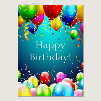 Diabetes greeting cards happy birthday blue colored balloons customize card bookmarktalkfo Image collections