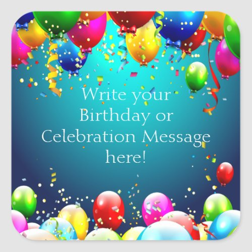 Happy Birthday _ Blue Colored Balloons _ Customize Square Sticker