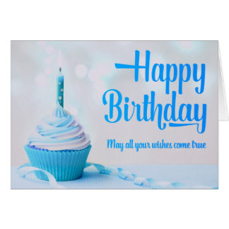 Happy Birthday Blue Cupcake Greeting Card