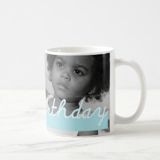 Happy Birthday Blue Cut Outs Add Photo Coffee Mug