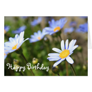 Happy Birthday Blue Daisies Greeting Card