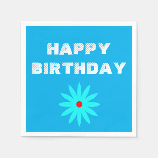 Happy Birthday Blue Floral Patterns Flowers Cool Paper Napkin