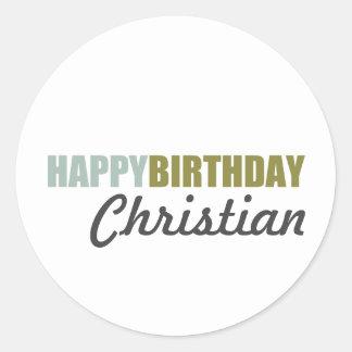 Happy Birthday Blue Green Grey Classic Round Sticker