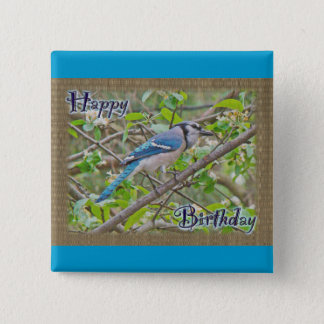 Happy Birthday Blue Jay Button