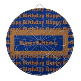 Happy Birthday Blue n Gold Art by NavinJOSHI GIFTS Dartboards