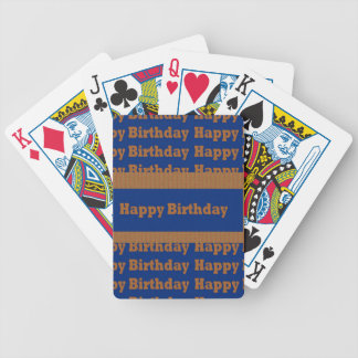 Happy Birthday Blue n Gold Art by NavinJOSHI GIFTS Bicycle Playing Cards
