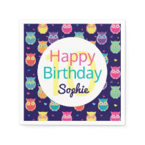 Happy Birthday Blue Owl Pattern Personalized Kids Paper Napkins