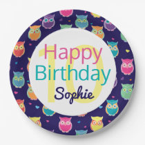 Happy Birthday Blue Owl Pattern Personalized Kids Paper Plate