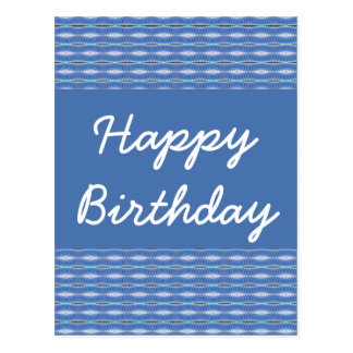 Happy Birthday blue pattern Postcard