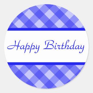 Happy Birthday Blue Plaid Sticker