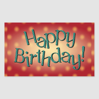 Happy Birthday Blue Polka Dot Text Red Bkgrd Rectangle Stickers