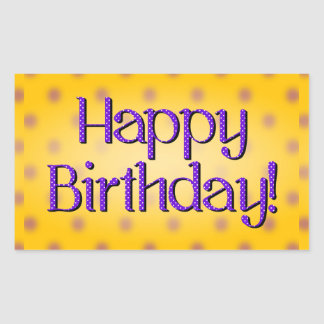 Happy Birthday Blue Polka Dot Text Yellow Bkgrd Rectangle Stickers