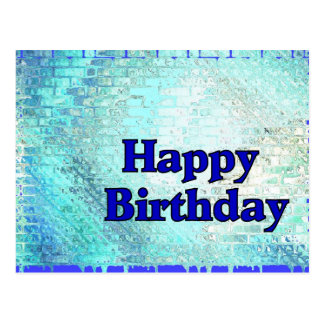 Happy Birthday Blue Postcard