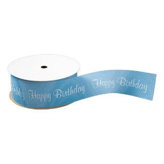Happy Birthday Blue shades wave pattern Blank Ribbon