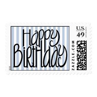 Happy Birthday Blue Stripes Stamp